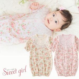 可愛い小花柄新生児2WAYオール